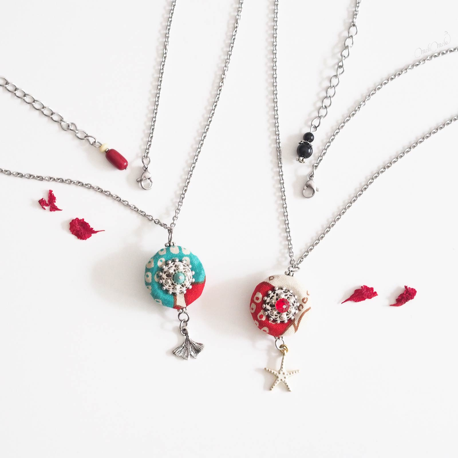colliers zui feuille ginkgo etoile mer turquoise rouge Swarovski laboutiquedemelimelo