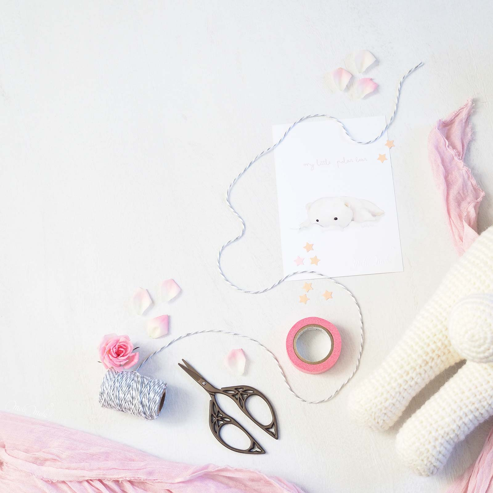 emballage packaging crochet lapine bunny rita Lalylala pétales rose laboutiquedemelimelo