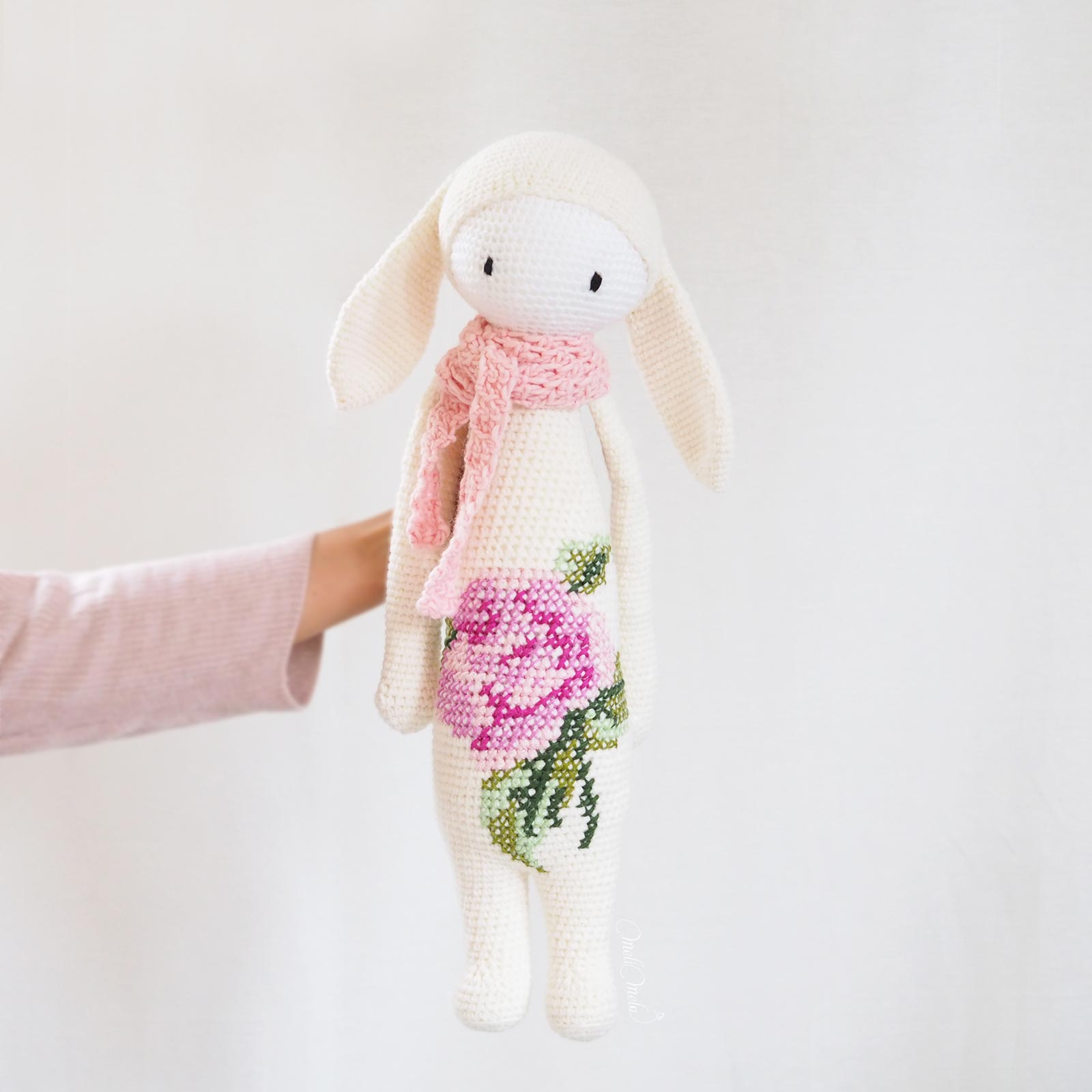 taille mesure crochet lapine bunny rita Lalylala bouquet rose laine alpaca chunky ricodesign laboutiquedemelimelo