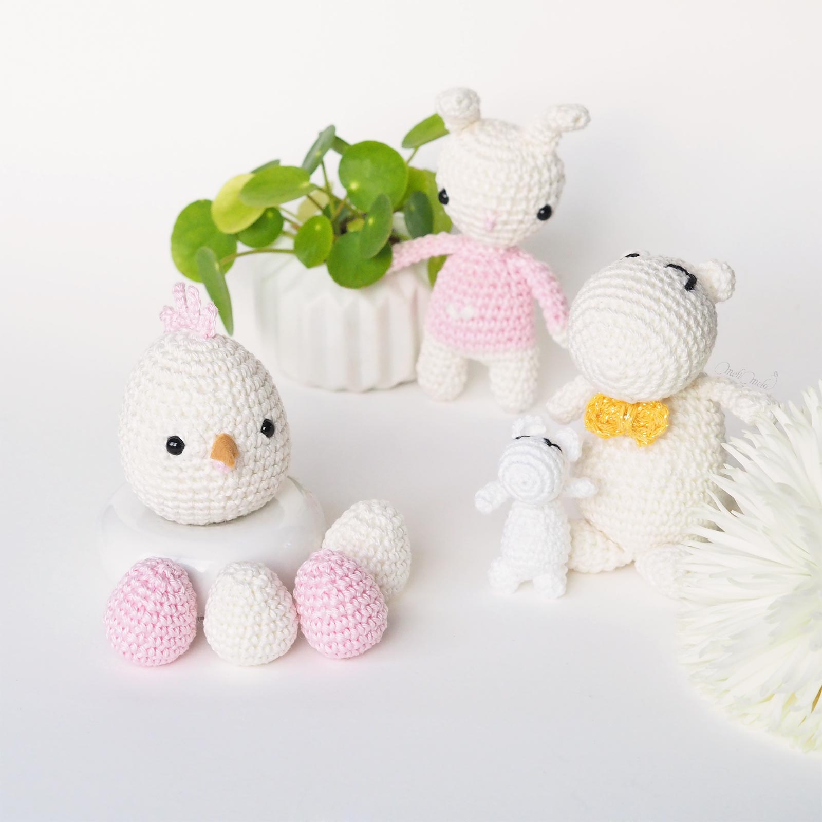 lapin oeuf Moomin crochet pâques Catona Scheeepjes pilea boutures laboutiquedemelimelo