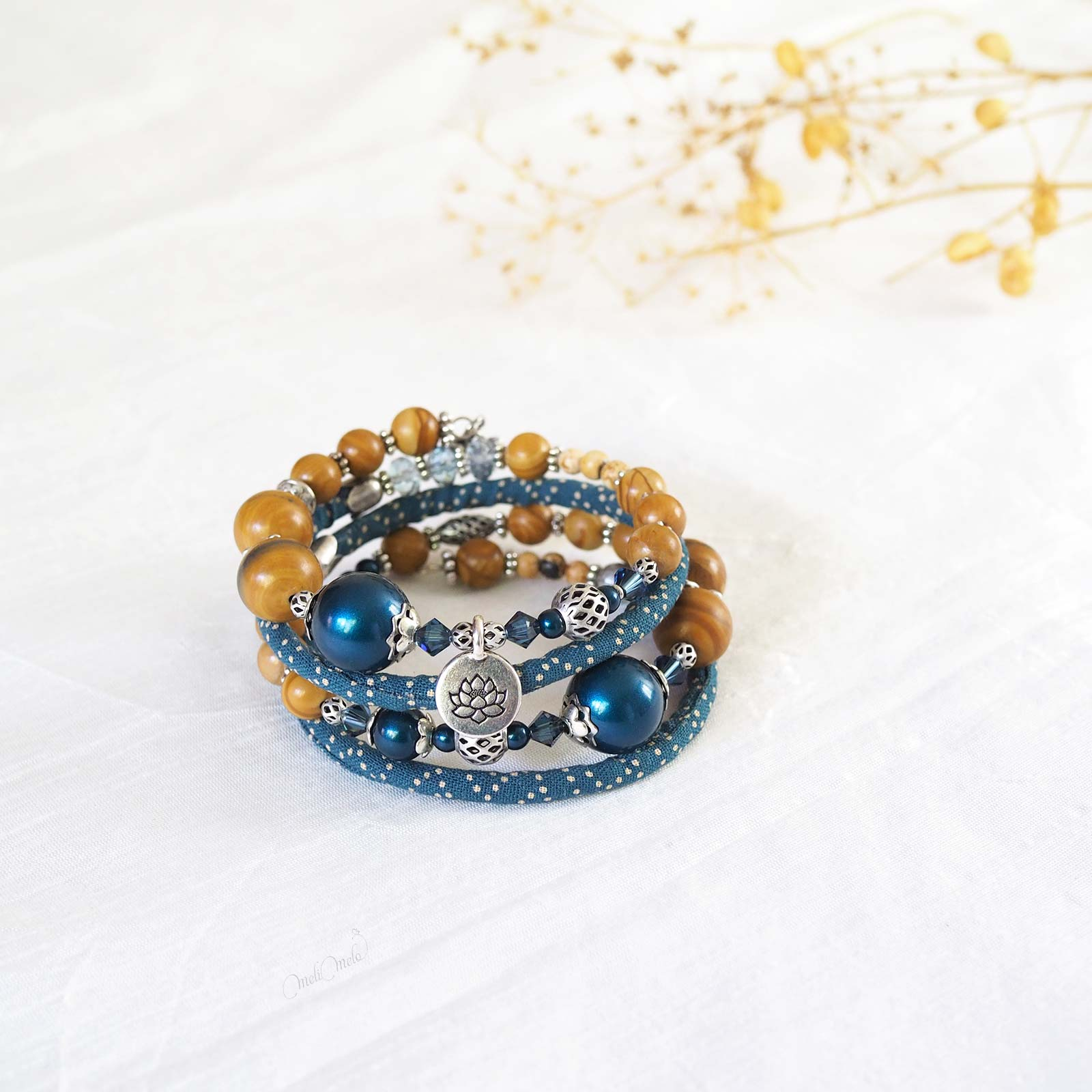 Bracelet Seikaiha Blue gemmes Jaspe perles nacrées teal fleur lotus Collection Japon laboutiquedemelimelo