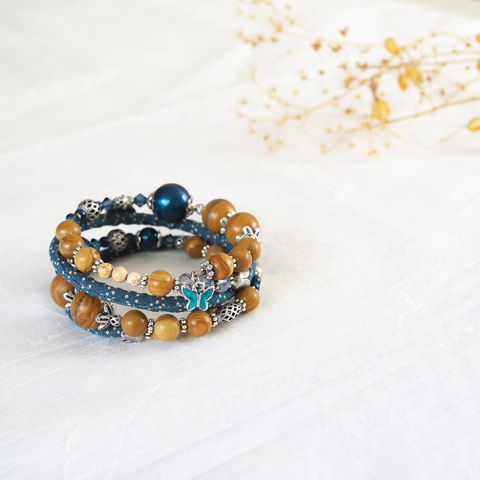 Bracelet Seikaiha Blue gemmes Jaspe perles nacrées teal papillon Collection Japon laboutiquedemelimelo
