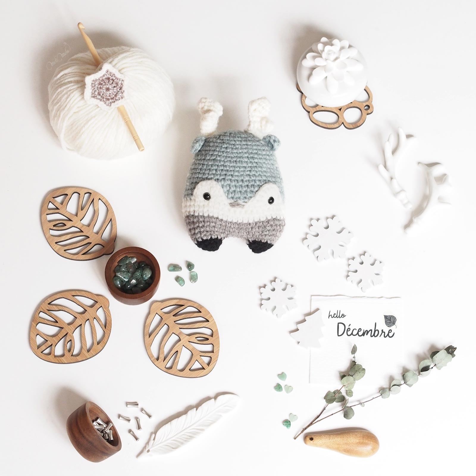 crochet doudou Lalylala alpaga  renne cerf Heinz fêtes hiver laboutiquedemelimelo