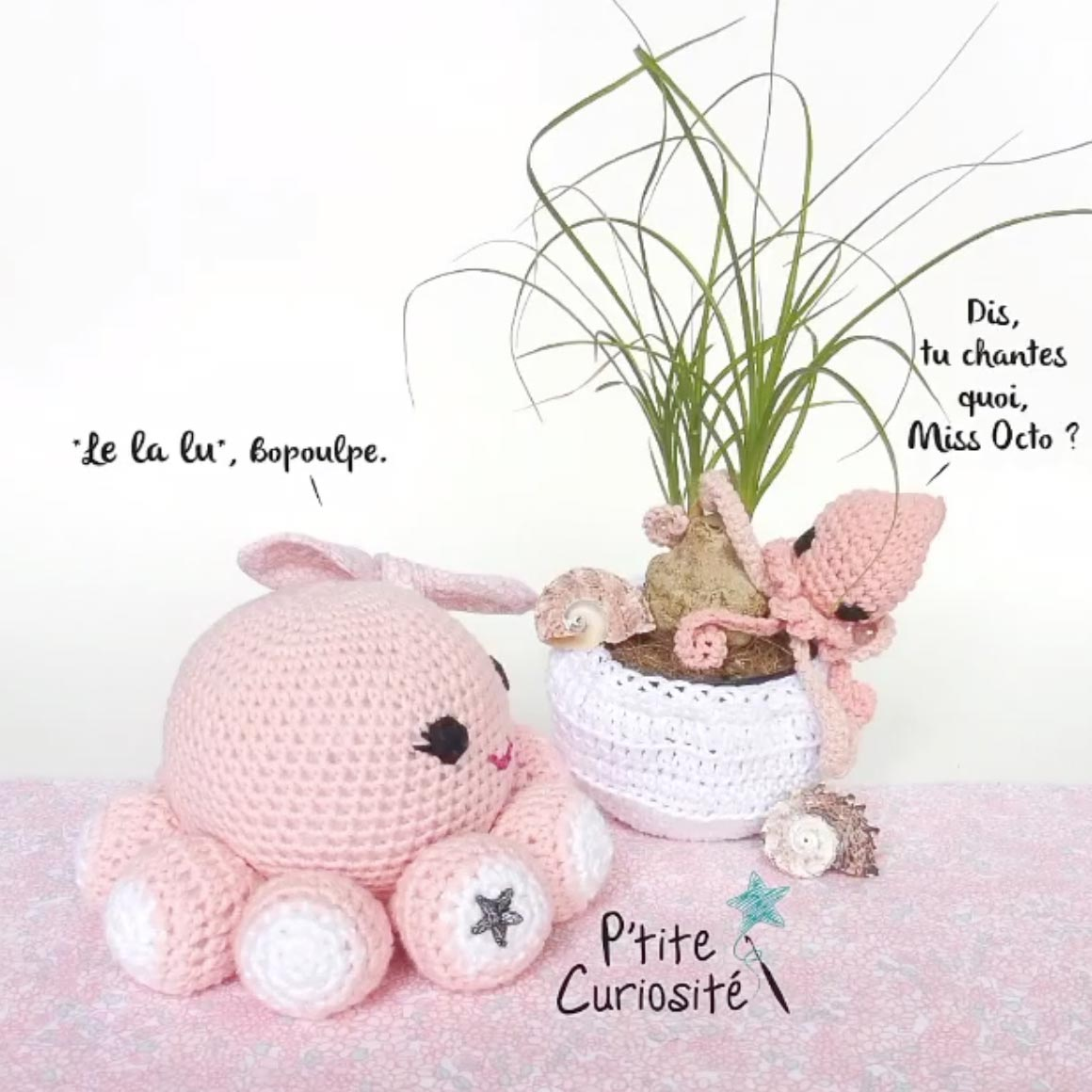 crochet mini poulpe pieuvre rose #diymelimelo
