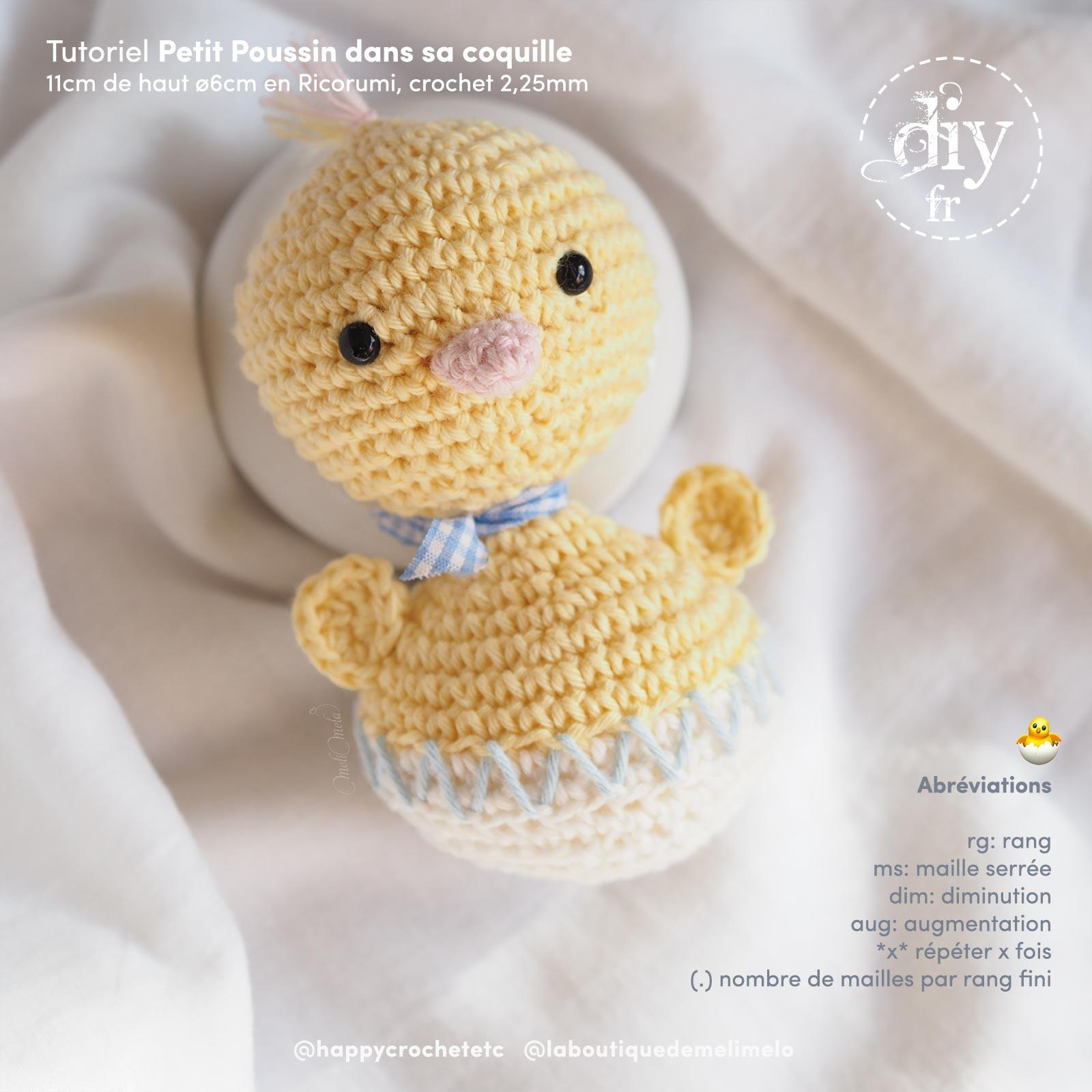 DIY crochet poussin coquille pâques tuto gratuit laboutiquedemelimelo happycrochetetc
