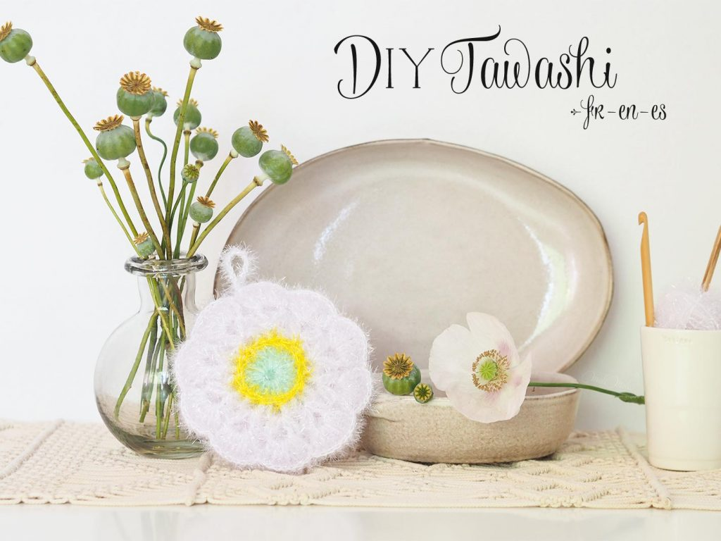 DIY scrubble tawashi crochet flower pavot amapola creative bubble laboutiquedemelimelo