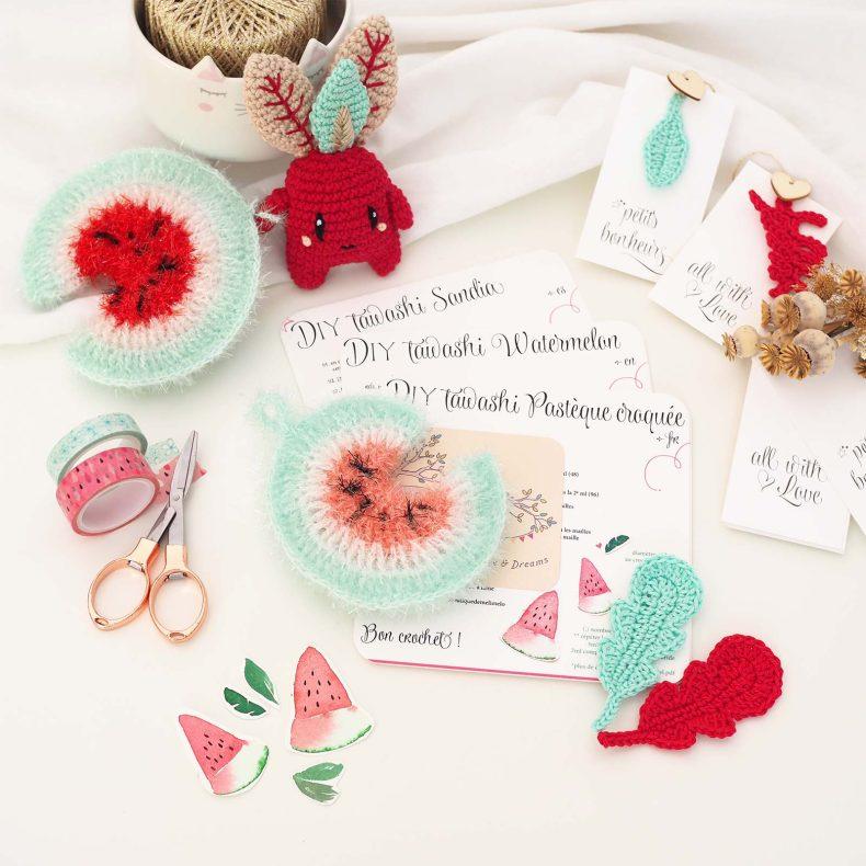 DIY tawashi tutoriel éponge pastèque crochet DIY scrubber laboutiquedemelimelo