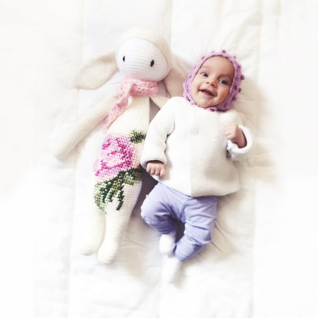 Rita au crochet lapine bunny Lalylala bouquet rose laine alpaca chunky ricodesign laboutiquedemelimelo