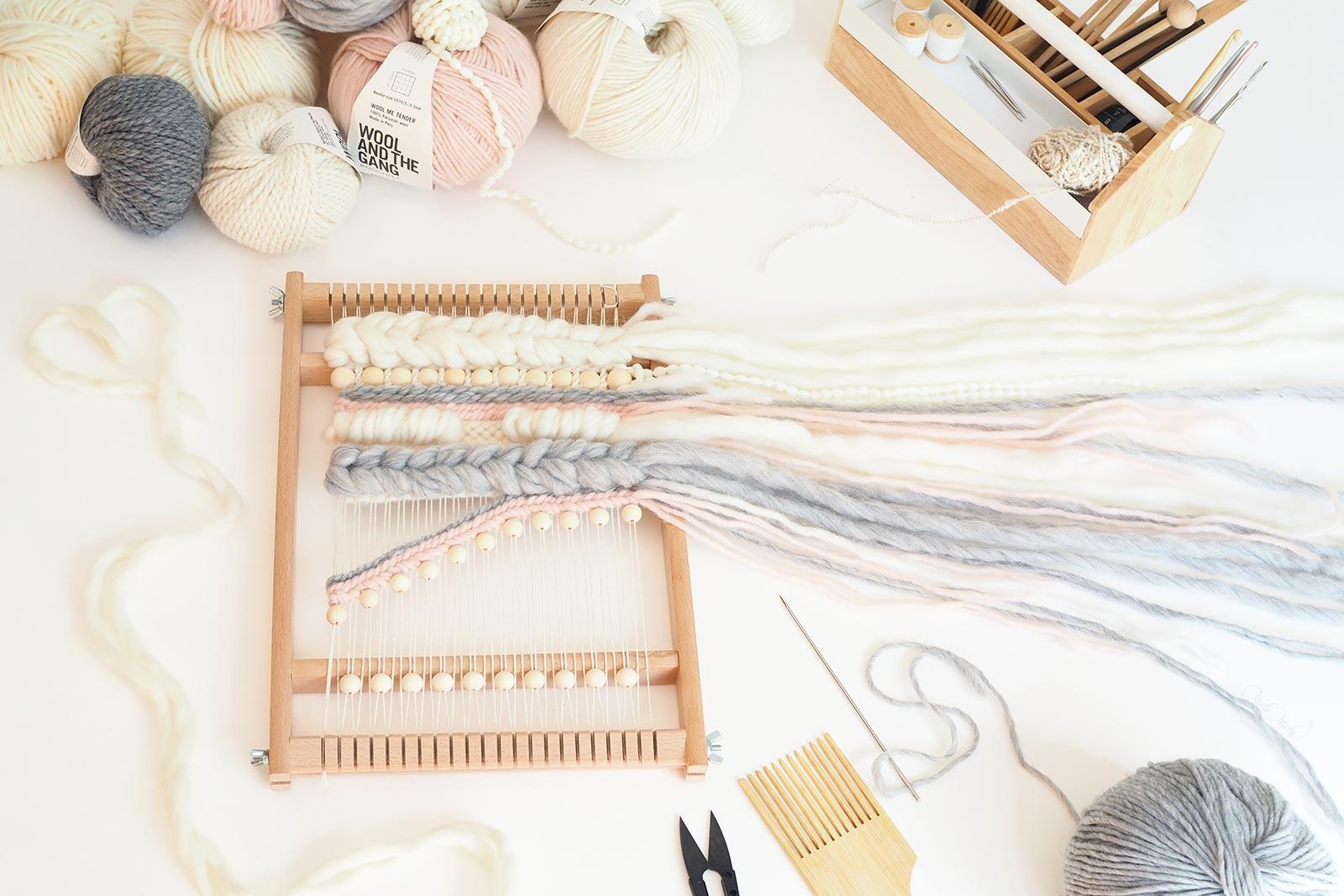 tissage en cours perles en bois laine plassard woolandthegang handweaving laboutiquedemelimelo