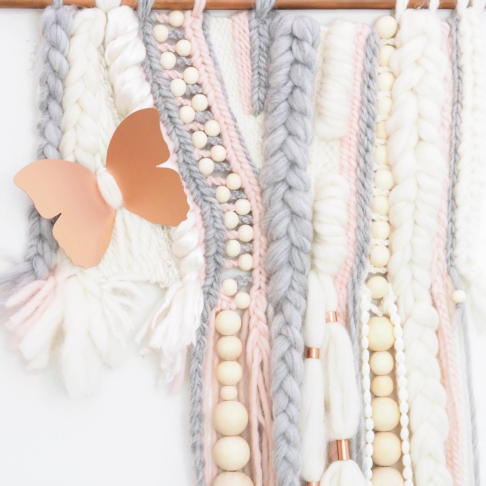 Tissage format paysage papillon cuivre bois rose laine merino wool woolandthegang handweaving laboutiquedemelimelo