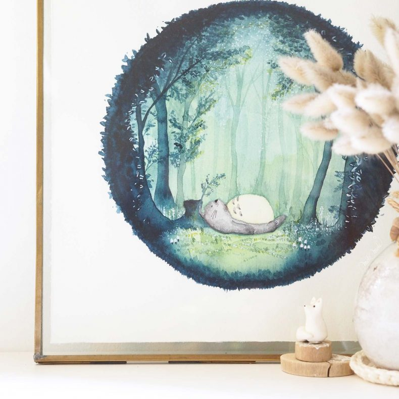 affiche-art-aquarelle-hahnemuhle-totoro-lover-ghibli-laboutiquedemelimelo