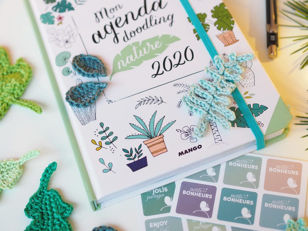 agenda doodling nature 2020 Editions Mango crochet feuille boutique melimelo