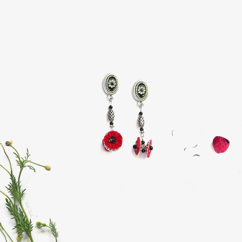 pendants oreilles akaaka coquelicots rouge écrin collection japon laboutiquedemelimelo