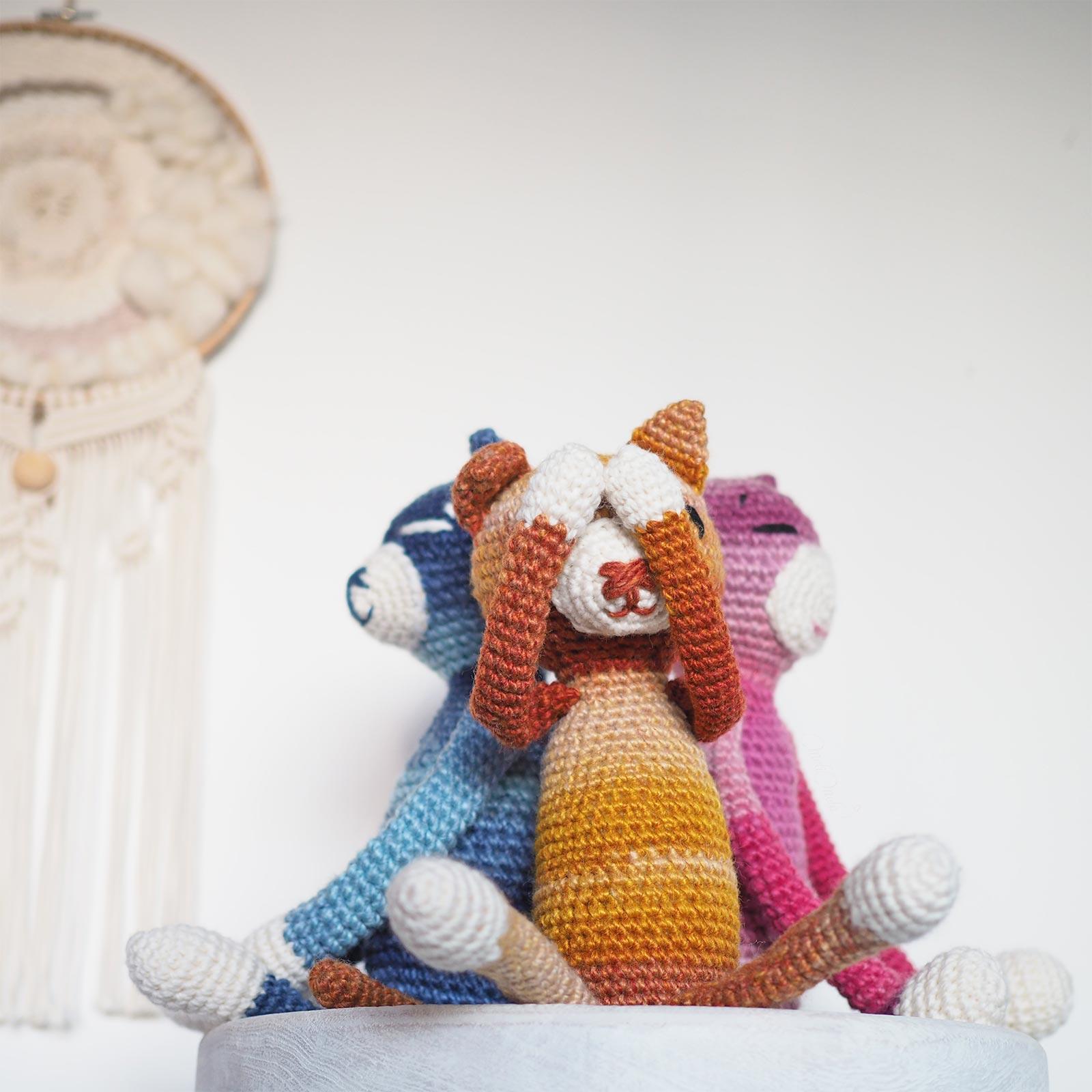 amineko cat nekoyama chat crochet amigurumi trio laboutiquedemelimelo