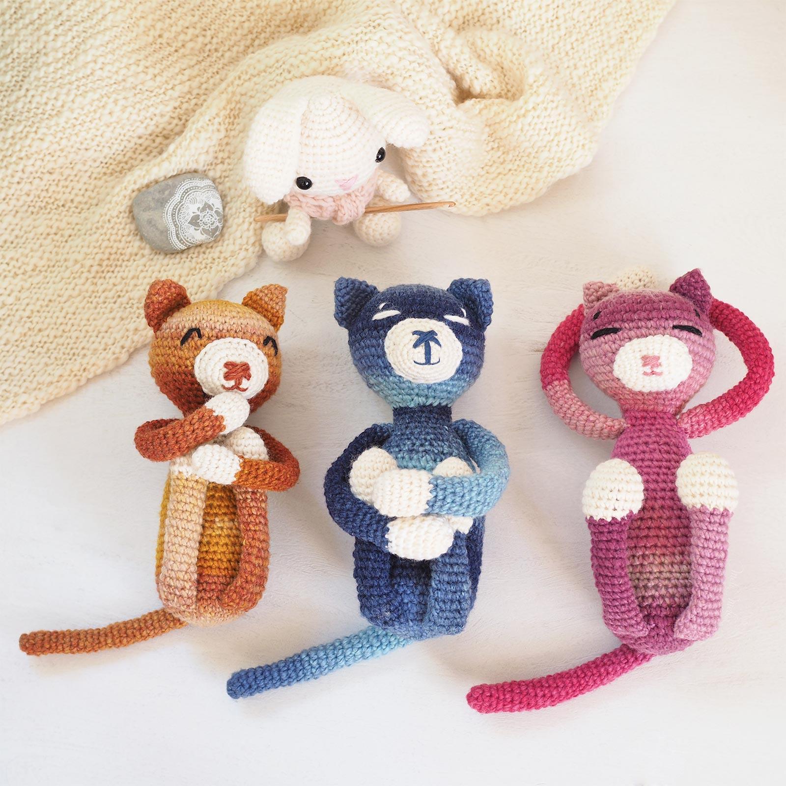 trio amineko cat nekoyama chat crochet amigurumi laboutiquedemelimelo