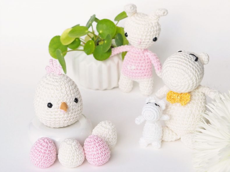 animaux lapin oeuf Moomin crochet pâques Catona Scheeepjes pilea boutures laboutiquedemelimelo