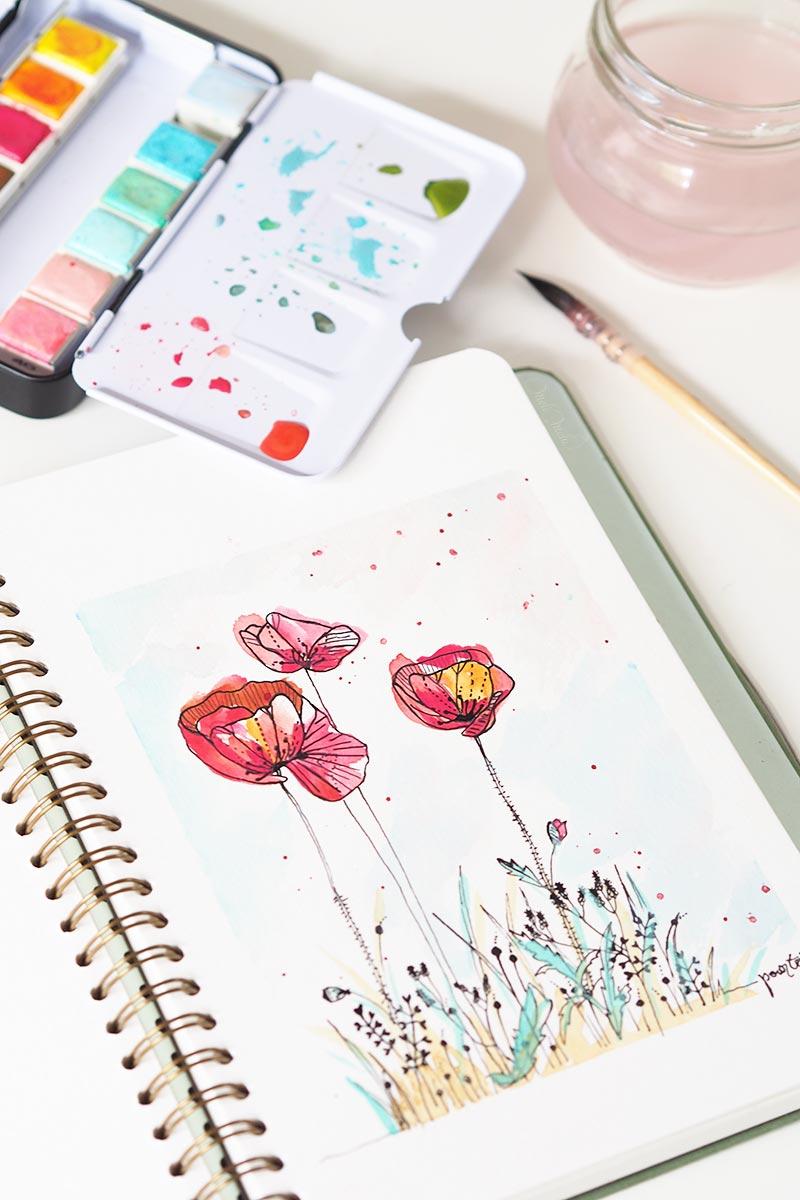 aquarelle coquelicots watercolor pastel dreams confections prima laboutiquedemelimelo