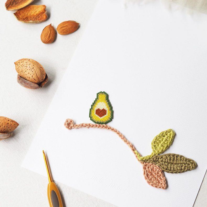 Affiche calligraphiée avocat coeur crochet perles miyuki La Boutique de MeliMelo