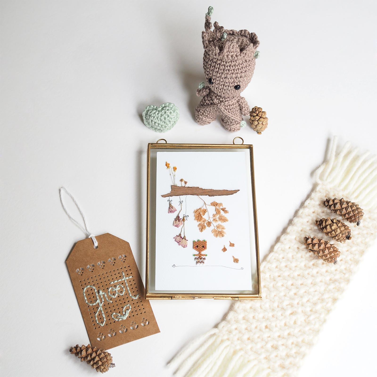 baby groot marvel crochet coeur affiche fleurs naturelles perles miyuki teaforyoubijoux laboutiquedemelimelo
