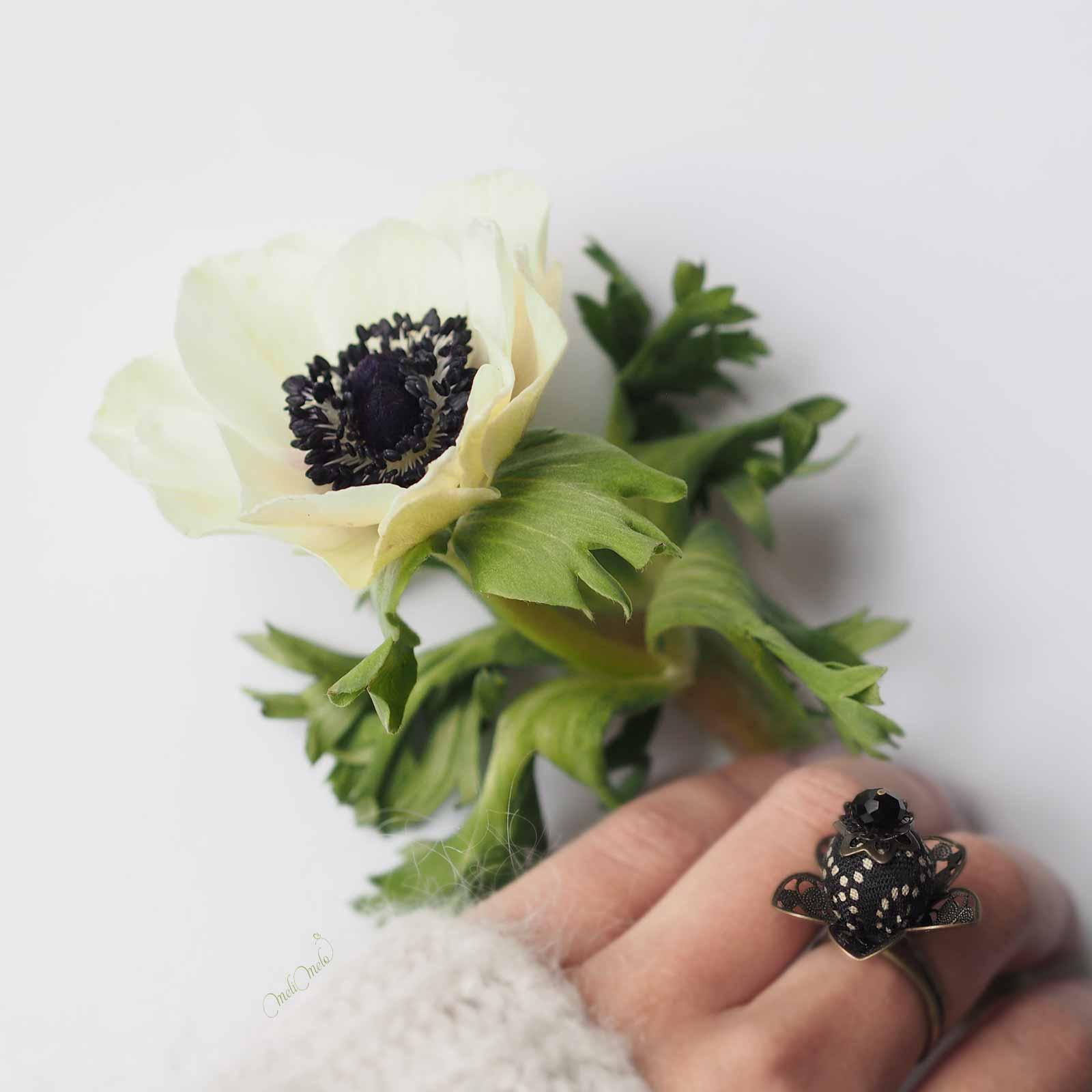 bagues Calice fleur anémone Swarovski laboutiquedemelimelo