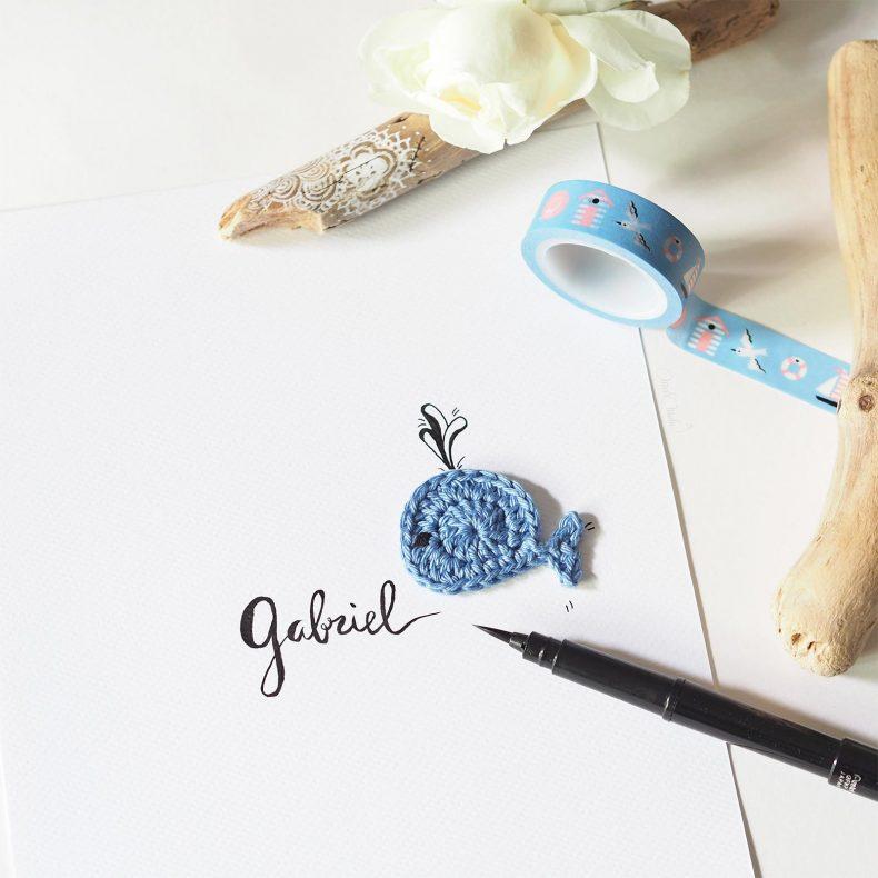 Affiche calligraphiée baleine crochet Gabriel La Boutique de MeliMelo