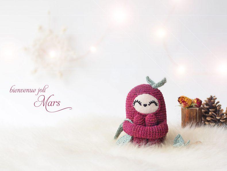 kawai face cranberry curlie tiny curl holst garn wool créations mignonneries crochet laboutiquedemelimelo