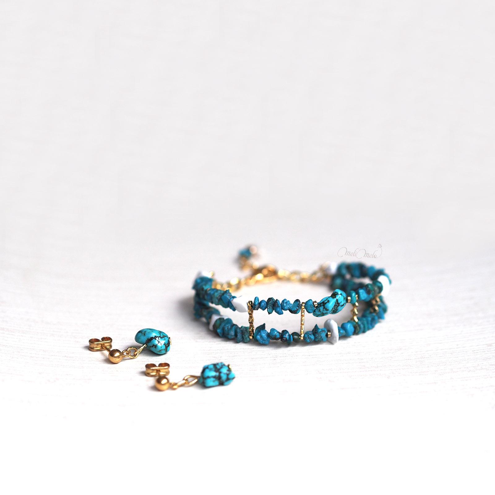 bijoux bracelet boucles oreilles Turquoise Howlite plaqué or laboutiquedemelimelo
