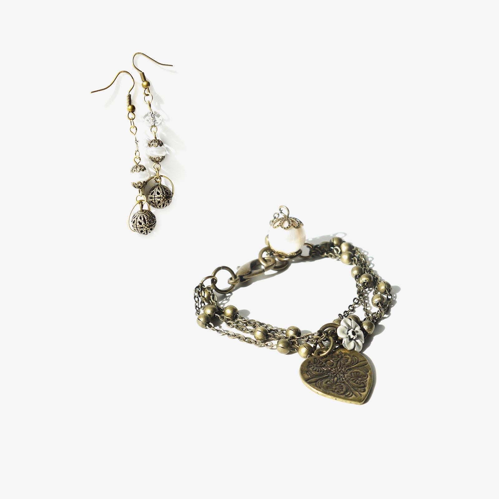 bijoux braclet pendants d'oreilles Perles d'eau laboutiquedemelimelo