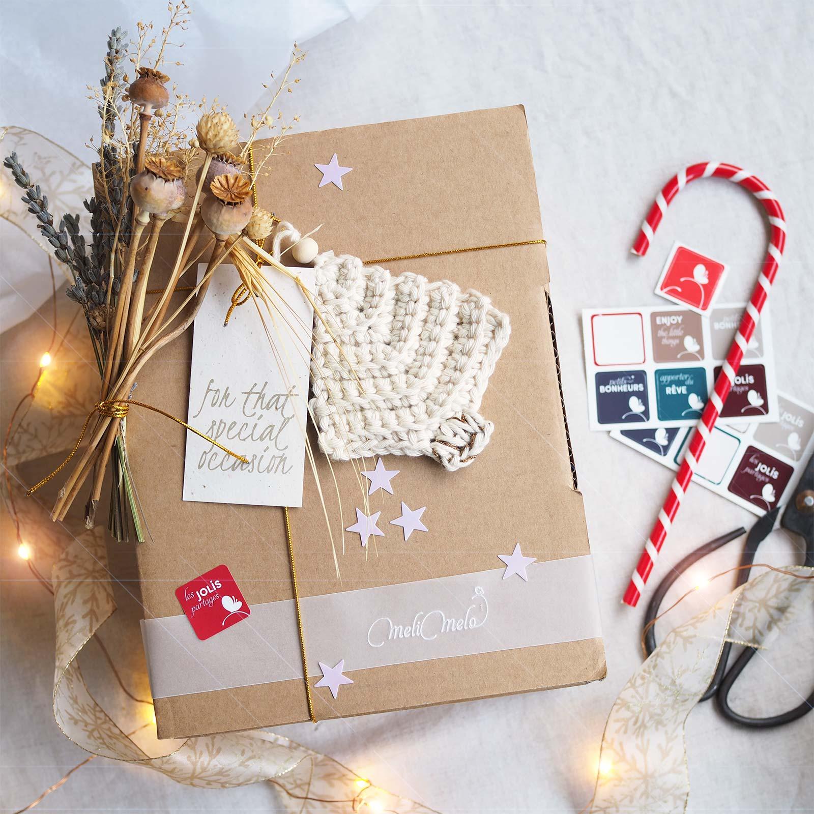 boîte cadeau Noël sapin crochet Boutique MeliMelo christmas