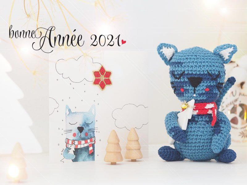 bonne année 2021 chat bleu olalarte illustrations laboutiquedemelimelo