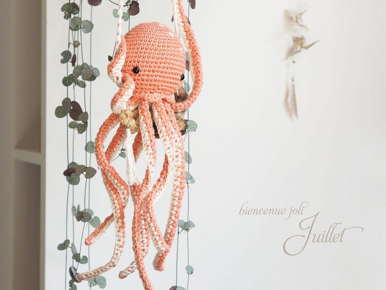 Ceropgia Woodii bois flotté octopus pieuvre poulpe crochet laboutiquedemelimelo