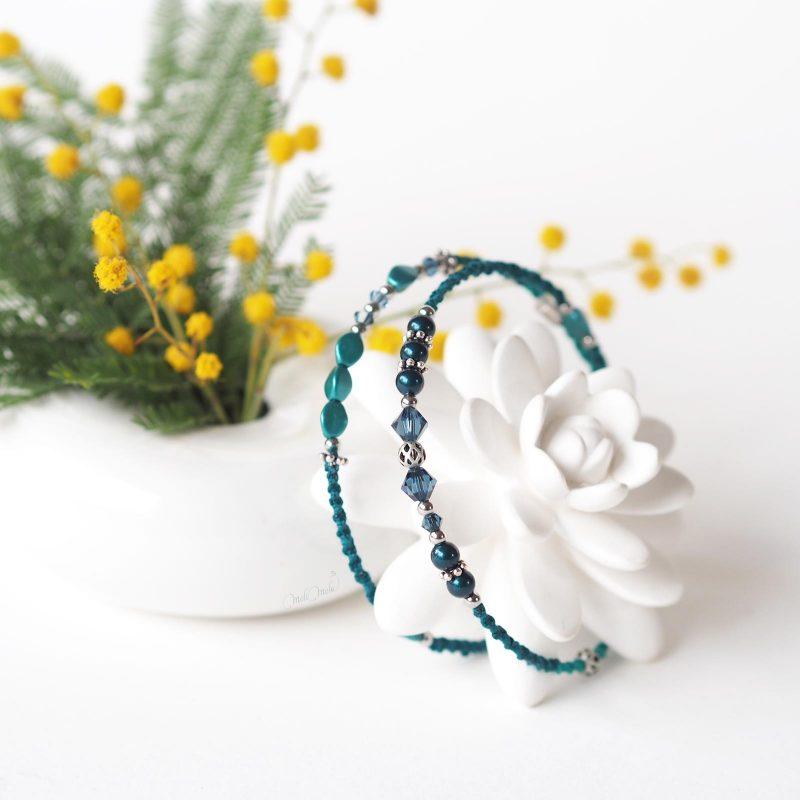 bijou bohème bracelet fin Cristal Swarovski bleu teal turquoise laboutiquedemelimelo
