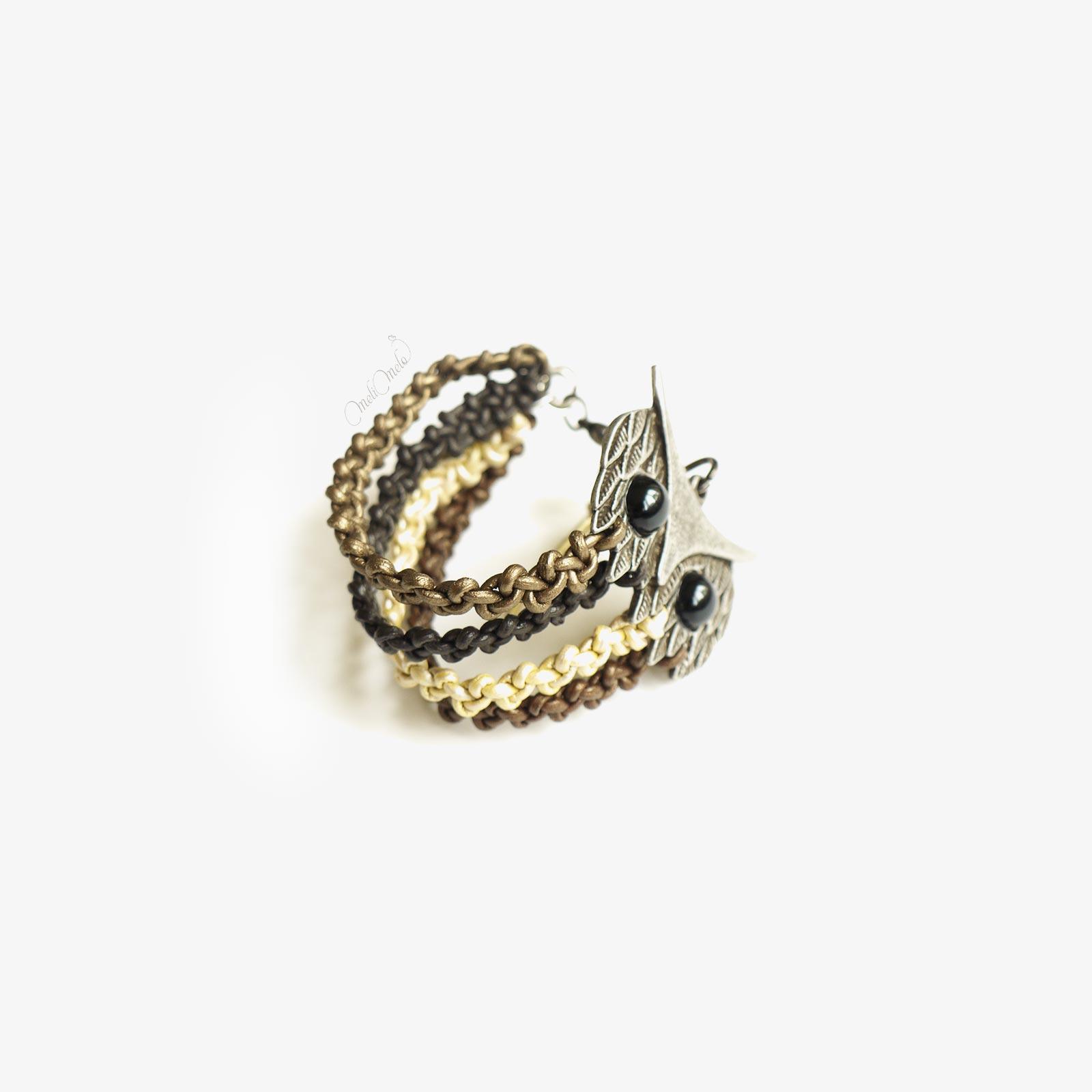 bracelet Hibou en cuir tressé laboutiquedemelimelo