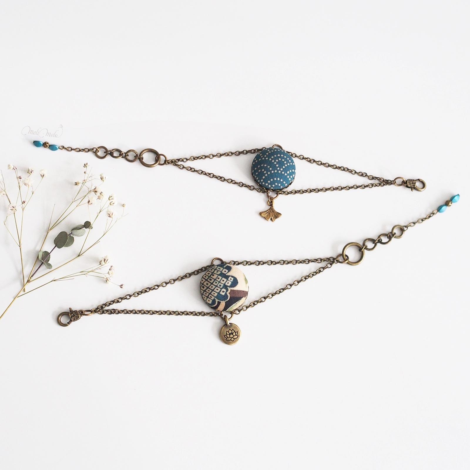 bracelets Corolle ginkgo lotus tissu japonais laboutiquedemelimelo