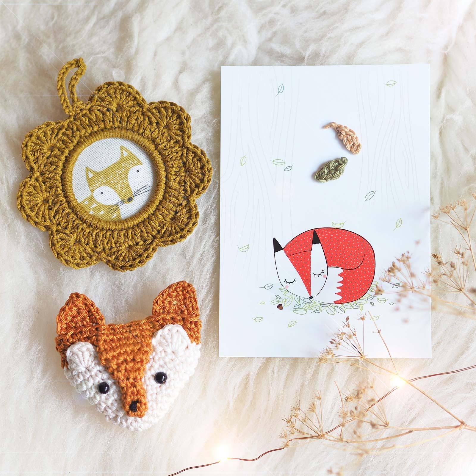 broche renard roux crochet cadre idée cadeau mignonnerie laboutiquedemelimelo