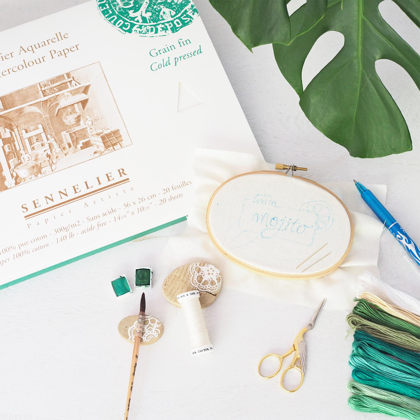 broderie aquarelle senellier green mojito encours laboutiquedemelimelo