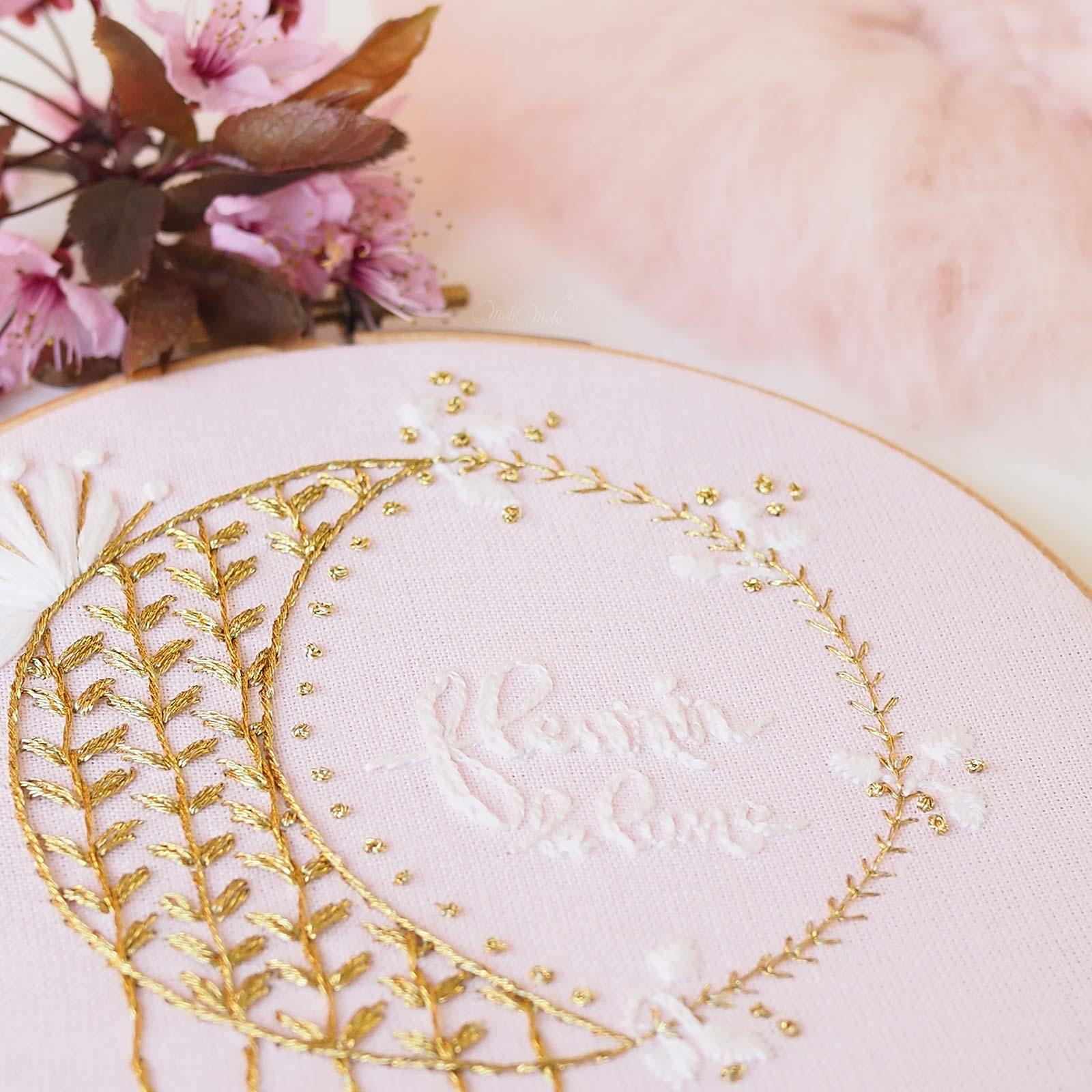 broderie fleurir lune rose blanc or dmc diamant grande Boutique MeliMelo