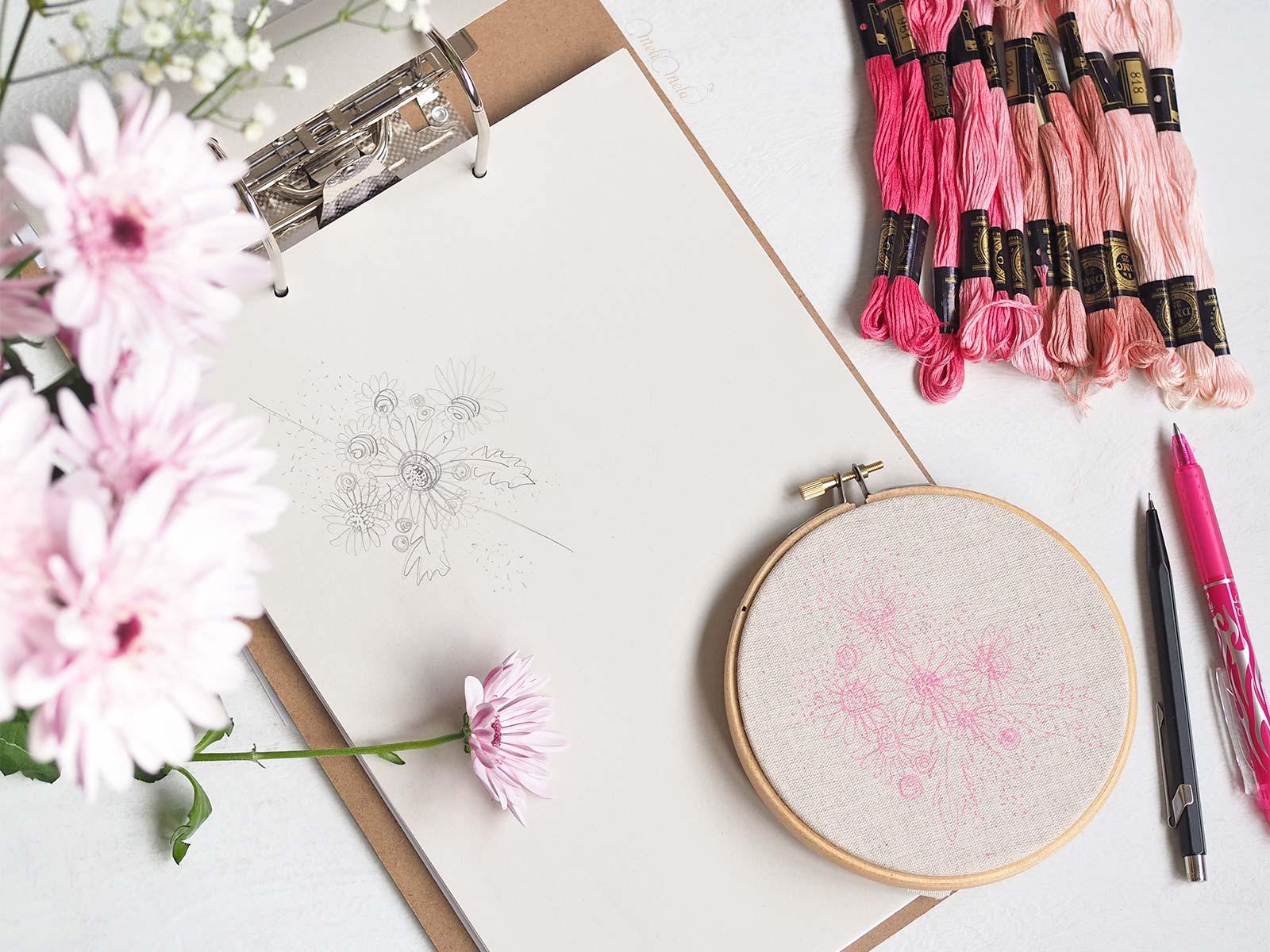 broderie fleurs gerbera rose esquisse Boutique MeliMelo