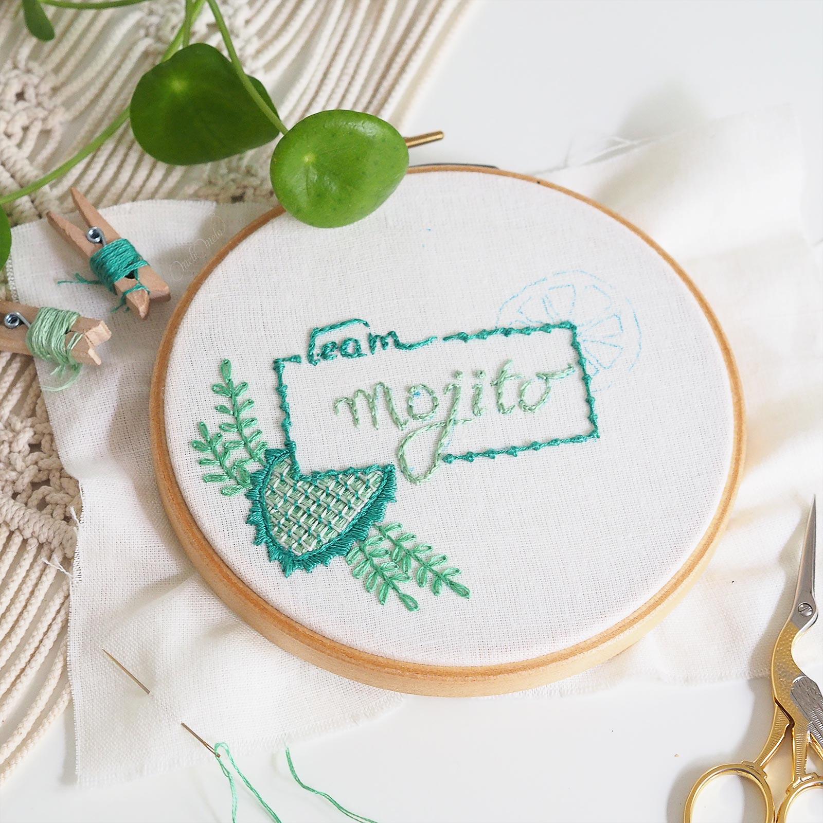 broderie palestrina stitch embroidery calligraphie mojito auverasoie mouliné dmc laboutiquedemelimelo