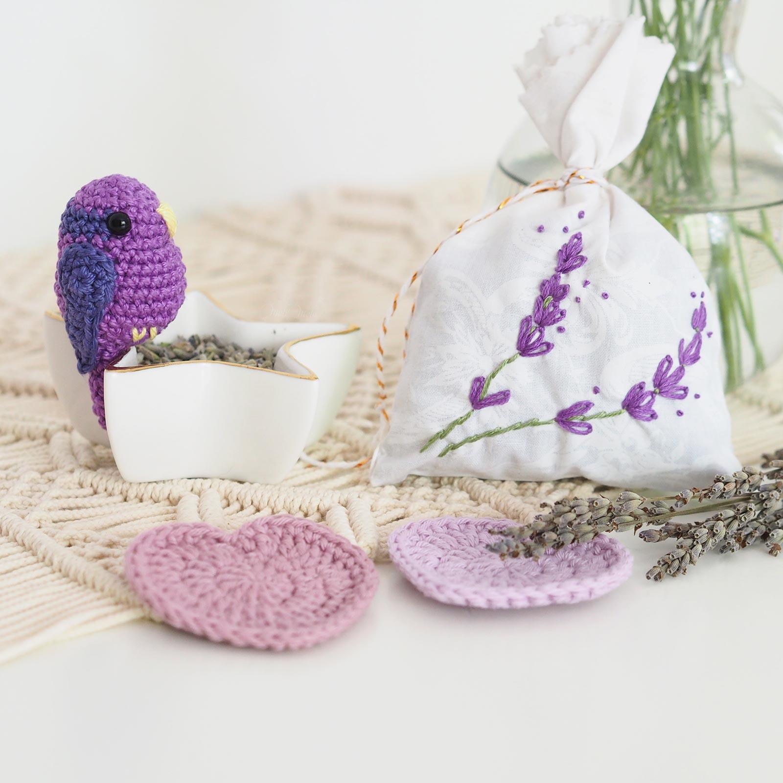 broderie sachet lavande crochet oiseau coeur cadeau   mariage laboutiquedemelimelo