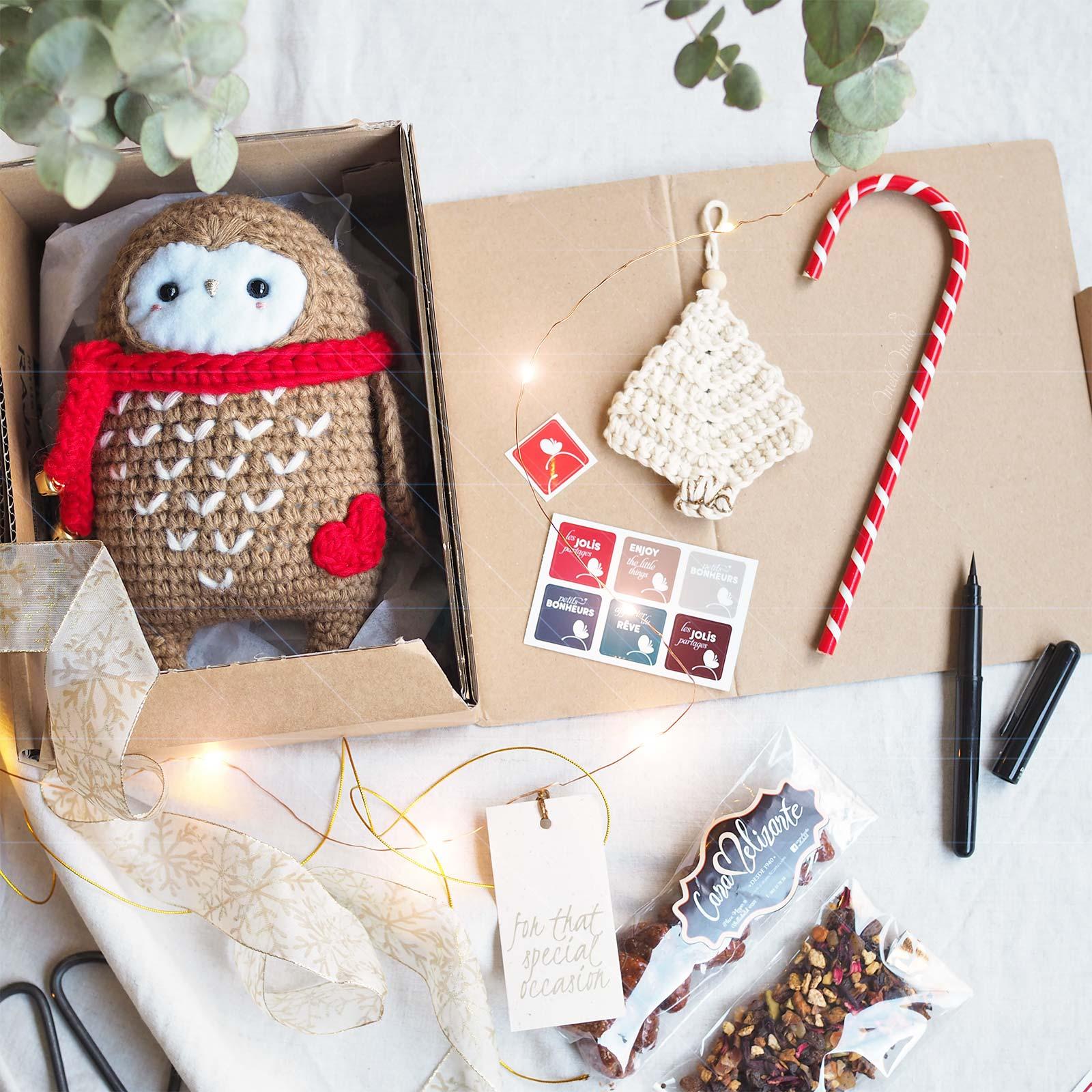 hibou owl chouette cadeau Noël crochet rouge laine Boutique MeliMelo