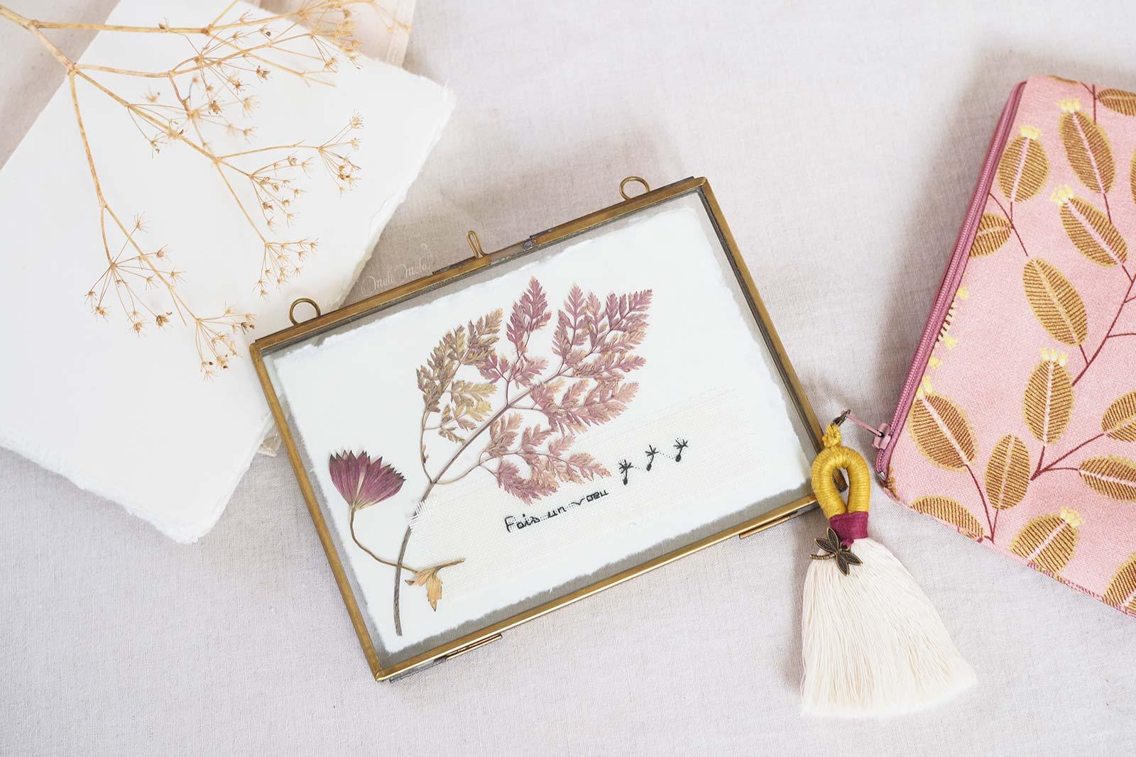 cadre-herbier-fleur-astrance-rose-pourpre-laboutiquedemelimelo