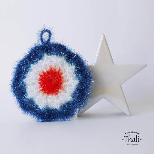 DIY crochet tawashi eponge bleu blanc rouge thalicreations