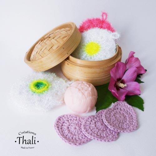 DIY crochet tawashi eponge lingette coeur thalicreations