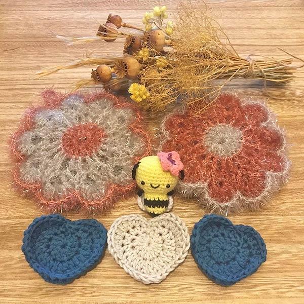 DIY crochet tawashi eponge lingette coeur abeille flokawaii974