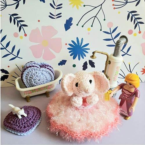 DIY crochet tawashi elephant lingette coeurs brigittabrou