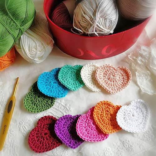 DIY crochet CAL tawashi disques démaquillants coeurs thalicreations