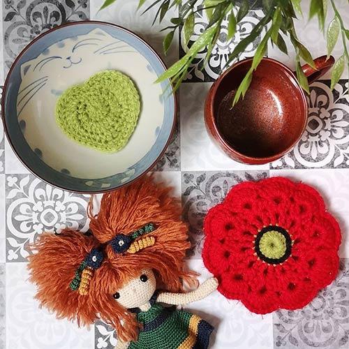 DIY crochet tawashi eponge kakotille lingette coeur