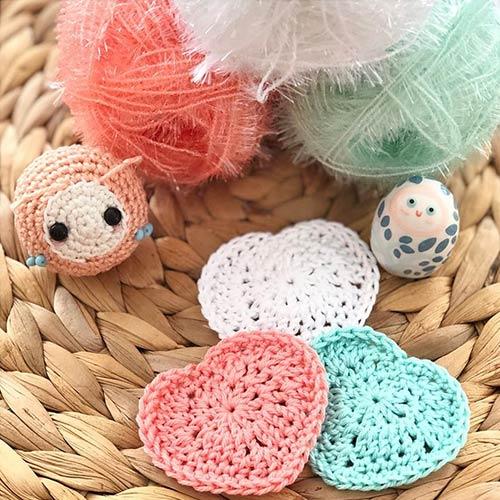 DIY crochet tawashi titoudou lingette coeurs