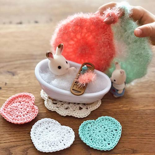 DIY crochet tawashi titoudou eponge lingette coeur